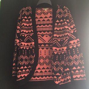 Pink tribal print cardigan